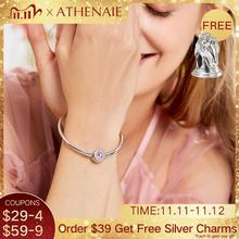 ATHENAIE 925 Sterling Silver Pave Pink CZ and Enamel Clasp Basic Charms Bracelet & Bangle For Women Murano Glass Beads Charm
