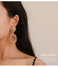 2019 New Popular Vintage clip on earrings For Women Golden Silver Round Circle Hollow Heavy Punk Earring Gift Party Brincos