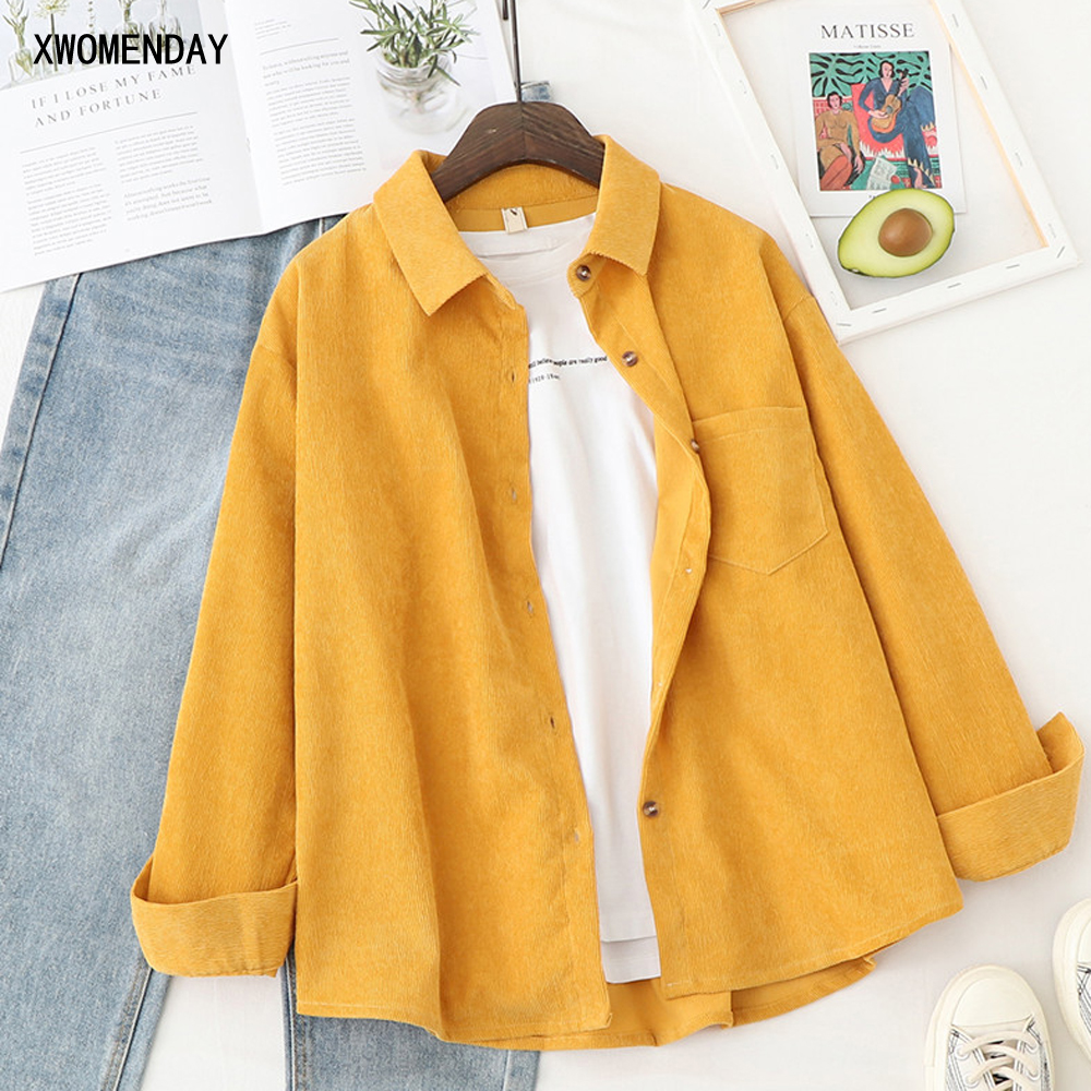 Corduroy Shirt Button Up Long Sleeve Women Tops And Blouse Solid White Baggy Casual Style Fashion Ladies Autumn Clothes 2020(China)
