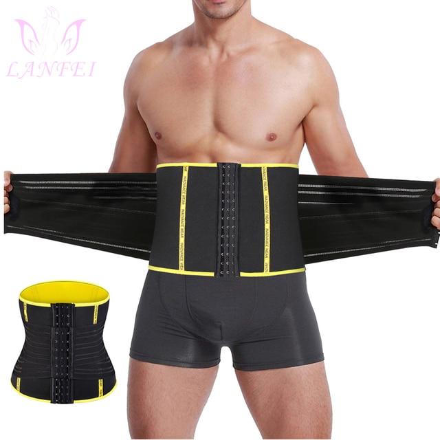 LANFEI Men Waist Trainer Double Strong Compression Pull Straps Wasit Trimmer Body Shaper Belt Neoprene Sweat Slimming Shapewear