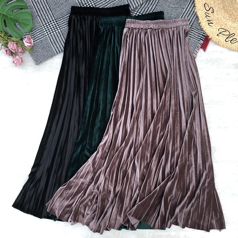 Autumn Winter Women Maxi Skirts Long High Waist Ankle Length Velvet Pleated Skirt Metallic Silver Flared Skirts Womens