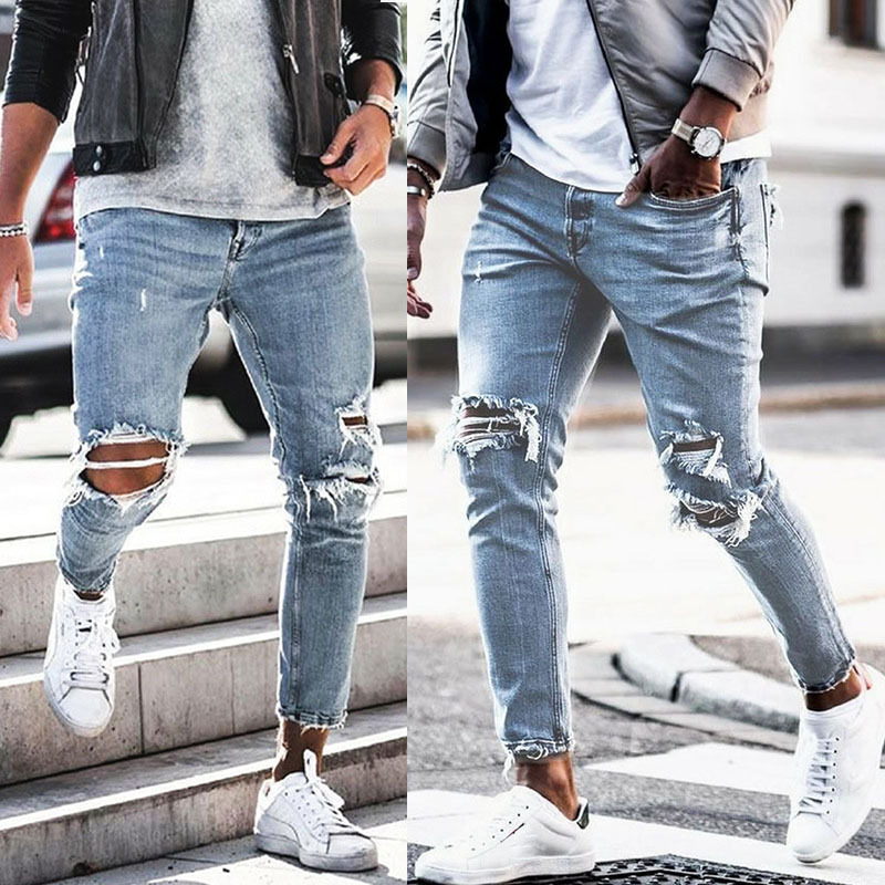 European And American Streets Popular Brand Cowboy Men Of Wrinkle Slim Fit Skinny Pants Badge With Holes Fashion Jeans