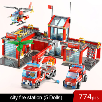 774pcs city fire 601108 with car airport mech legoINGlys station boat 601092