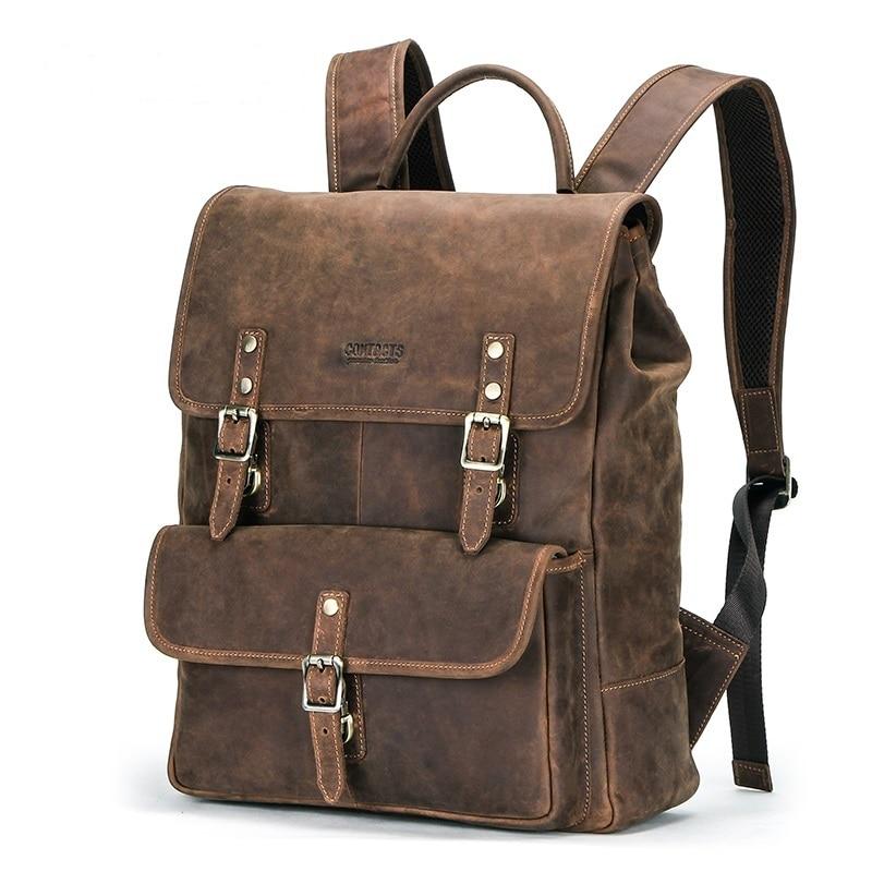 Masculino genuíno crazy horse couro portátil mochila de viagem de negócios vintage saco para 13.3 portátil e notebook