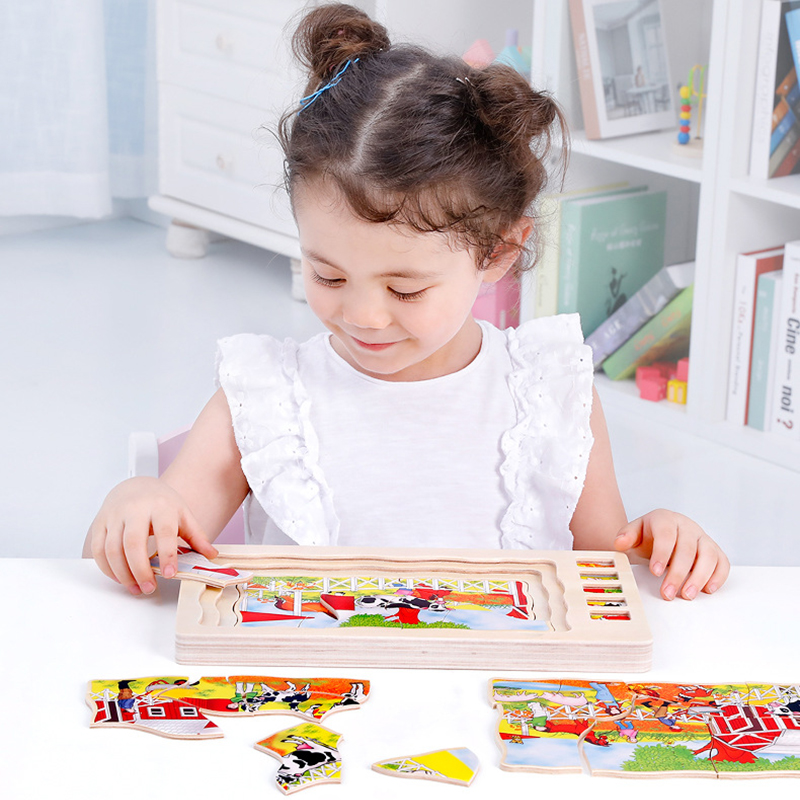 Wooden Kids Puzzle Toys Human Body Structure Multilayer Brick Toy Child Early Educational Intelligent Learning Cognition Toy