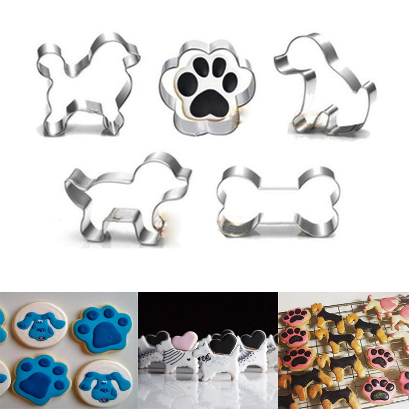 Funny Pet Dog Bone Paw Cookie Biscuit Cutters Stainless Steel Mould Baking Decor