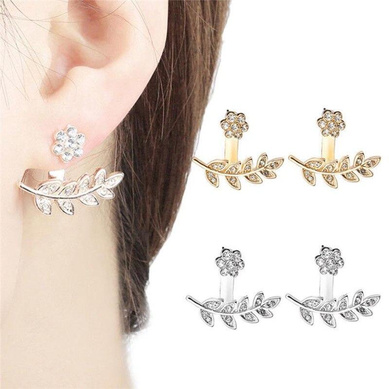 Fashion Stud Earrings Plum Blossom Design Double Side Flowers for Women Leaves Crystal Ear stud earrings Jewelry WD400
