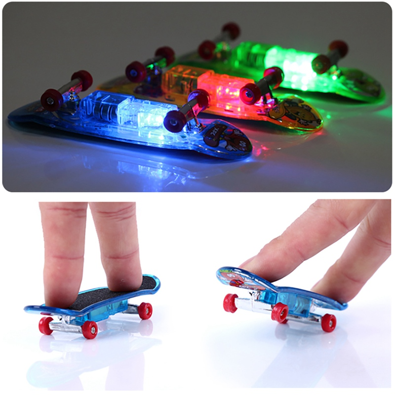2pcs LED Light Mini Alloy Fingerboard Professional Finger Skateboard Basic Fingerboards Frosted Finger Skateboards Toy