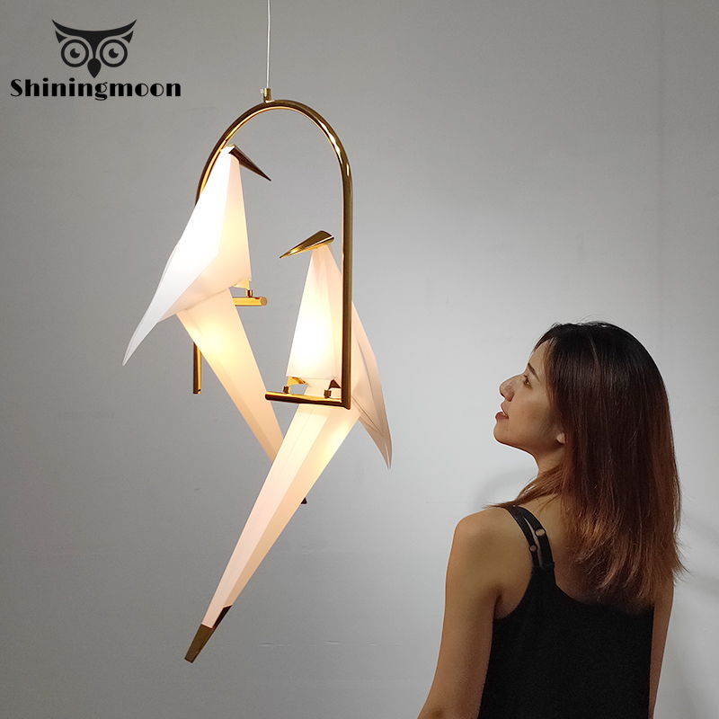 Nowoczesne ptak wisiorek lampa lampy nordic wisiorek światła Origami Crane wisiorek lampa sufitowa salon ściany lampka biurkowa lampy oświetlenie