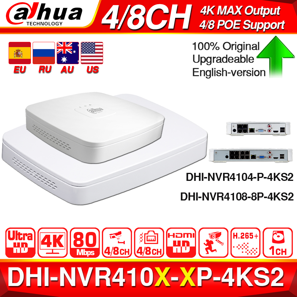 Dahua 4K POE NVR NVR4104-P-4KS2 NVR4108-8P-4KS2 avec 4/8ch PoE h.265 enregistreur vidéo prise en charge ONVIF 2.4 SDK CGI