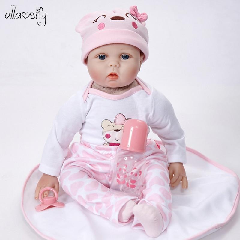 Allaosify 55cm réaliste nouveau-né bébé poupées renaître réaliste tout le corps en Silicone bébés à la main bambin poupées jouets