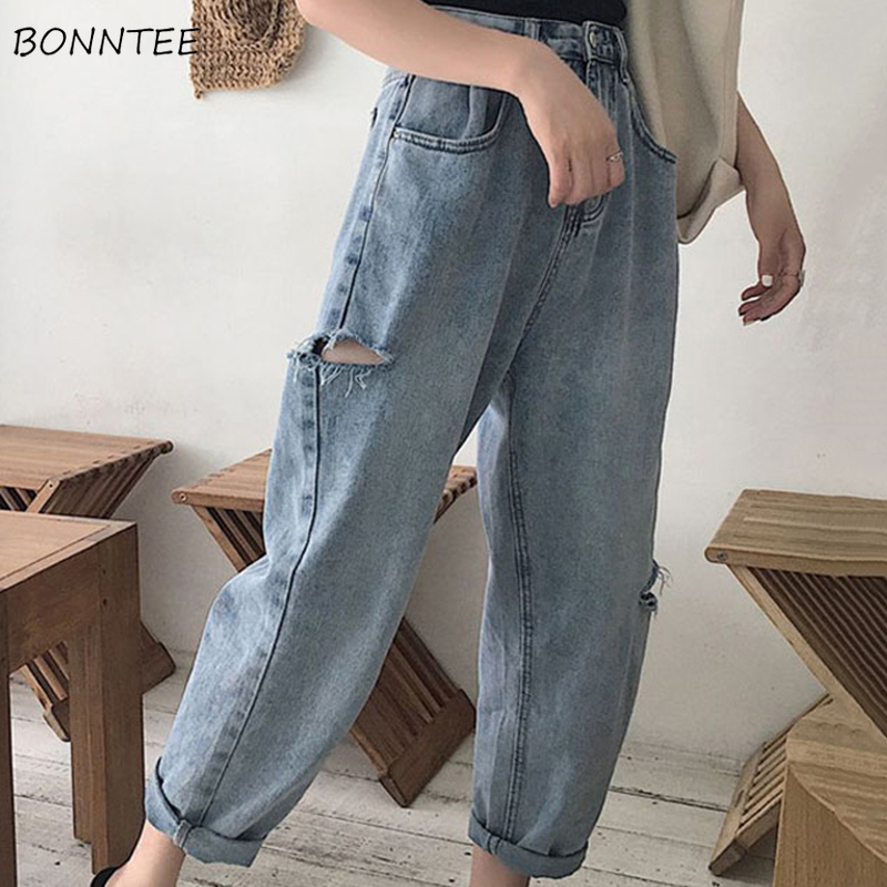 Jeans Women Hole Loose Korean Style All-match Simple Slim Straight Womens Ankle-length Chic Pocket 2020 Trendy Casual Trousers