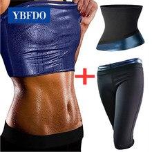 Ybfdo feminino corpo shaper conjunto sauna colete emagrecimento calças cinto de controle de fitness formador da cintura shapewear ginásio fitness workout ternos