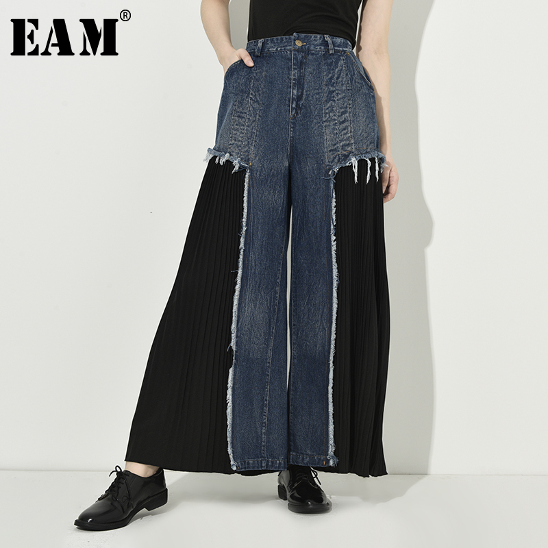 [EAM] High Waist Blue Burr Pleated Wide Leg Long Denim Trousers New Loose Fit Pants Women Fashion Spring Autumn 2020 1D6690