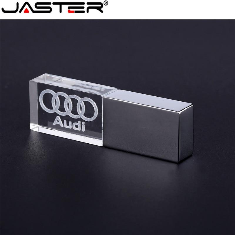 JASTER Audi Crystal + Metal USB Flash Drive Pendrive 4GB 8GB 16GB 32GB 64GB 128GB External Storage Memory Stick U Disk