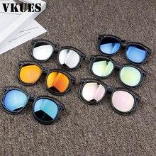 VKUES, детские солнцезащитные очки для мальчиков и девочек, прозрачная и черная оправа, круглые винтажные детские солнцезащитные очки, Anti-UV400O очки Oculos De Sol