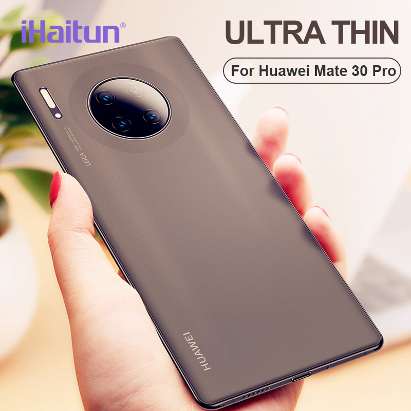 iHaitun Ultra Thin Frosted Phone Case For Haiwei Mate 30 Frosted TPU Cases For Mate 30 Luxury Slim case Translucent Black White(China)