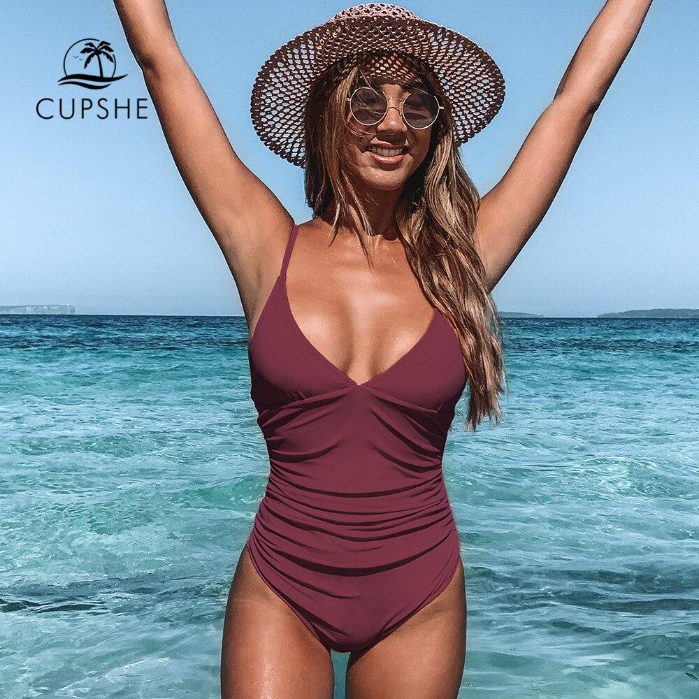 CUPSHE Solid Burgundy Shirring One-piece Swimsuit Women Deep V-neck Removable Bra Plain Monokinis 2021 New Summer Beach Swimwear