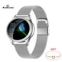 KW20 reloj inteligente para mujer a prueba de agua podómetro del ritmo cardíaco presión arterial pulsera inteligente Smartwatch para IOS Xiaomi Huawei PK S3 Band