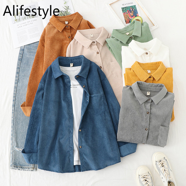 Corduroy Women Blouses Shirts Tunic Womens Tops And Blouses 2021 Womenswear Long Sleeve Clothing Button Up Down Loose White New 1