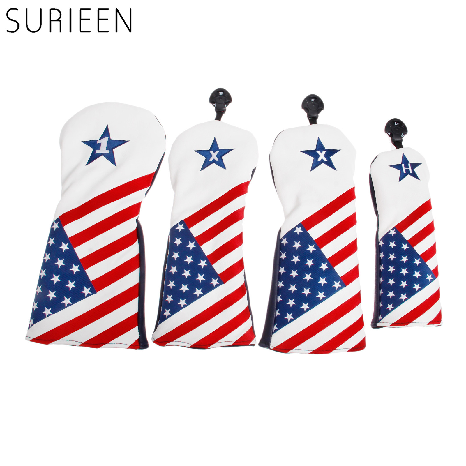 4 Pcs PU Golf Wood Headcover With USA America Flag Style For 1 Golf Driver Cover & 2 Fairway Cover & 3 Hybrid Club Head Covers