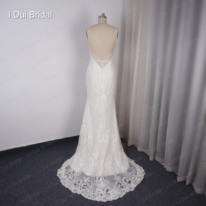 Image 5 - Detachable Train Sheath Wedding Dress High Quality Lace Low Back Deep V Neckline