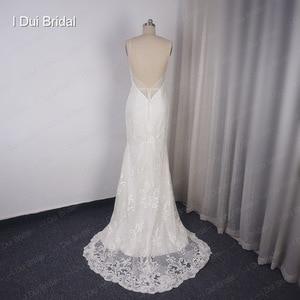 Image 5 - להסרה רכבת נדן חתונת שמלה באיכות גבוהה תחרה נמוכה חזרה עמוק V מחשוף