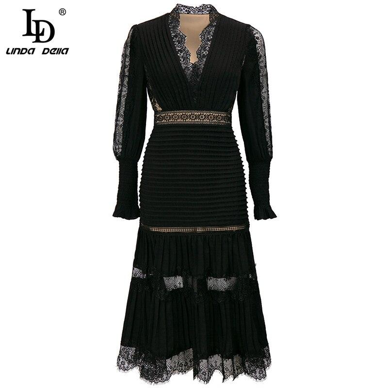 LD LINDA DELLA Fashion Designer Autumn Elegant Black Dresses Women V-neck Luxury Lace Patchwork Embroidery Vintage Midi Dress 1