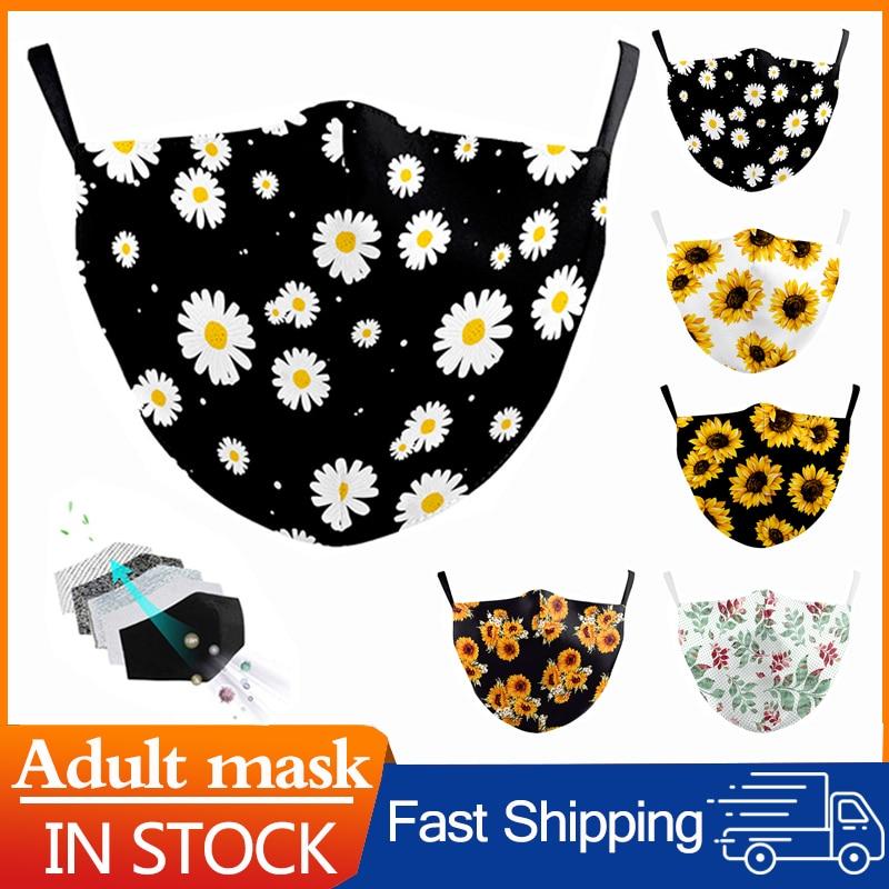 Маска для рта с 3D цветочным принтом, маска для лица Повседневная для женщин, маска для рта моющаяся многоразовая маска для рта, модные Тканев...