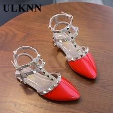 ULKNN Girls Roman Sandals 2020 Summer New Children's Korean-Style Studded Perforated Soft-Sole Princess Shoes Baotou Sandals