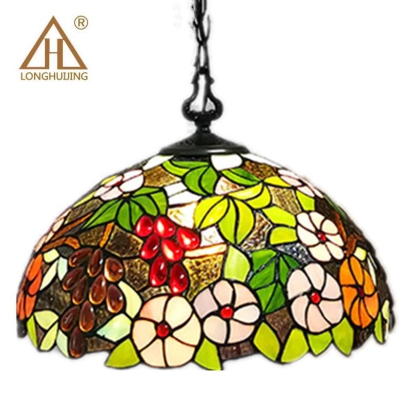 Tiffany Dragonfly Lamp Glass Shade Pendant Light Bohemian Single Pendant Hanging Light Foam Packing For Hallway Corridor Kitchen