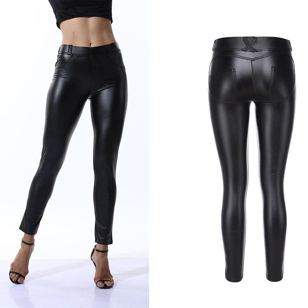 2019 Fashion PU Leather High Waist Leggings Women Sexy Hip Push Up Pants Legging Jegging Gothic Leggins High-quality Jeggings