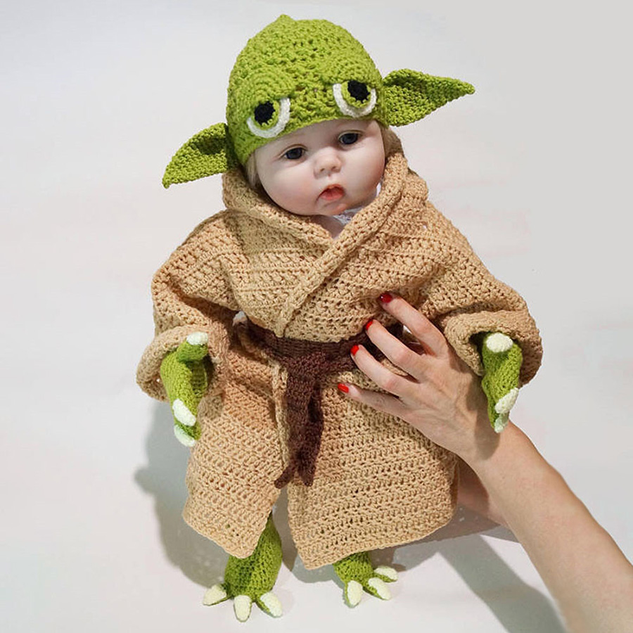 Yoda Style Newborn Infant Baby Photography Prop Crochet Knit Costume Set Handmade Toddler Cap Outfits for Baby Shower Gift (5)