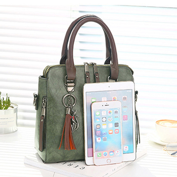 Luxury Vintage Ladies Leather Hand Bag Totes Tassel Crossbody Bag 6