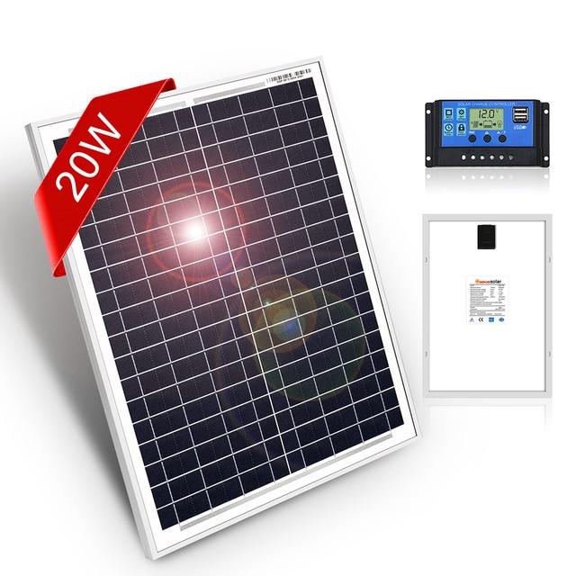 DOKIO 18 โวลต์ 12V 20 วัตต์แผงเซลล์แสงอาทิตย์ขนาดเล็กจีนกันน้ำแผงพลังงานแสงอาทิตย์ชุดโทรศัพท์มือถือ/โมดูล/ระบบ/Home/เรือ 10A 12/24V Controlle