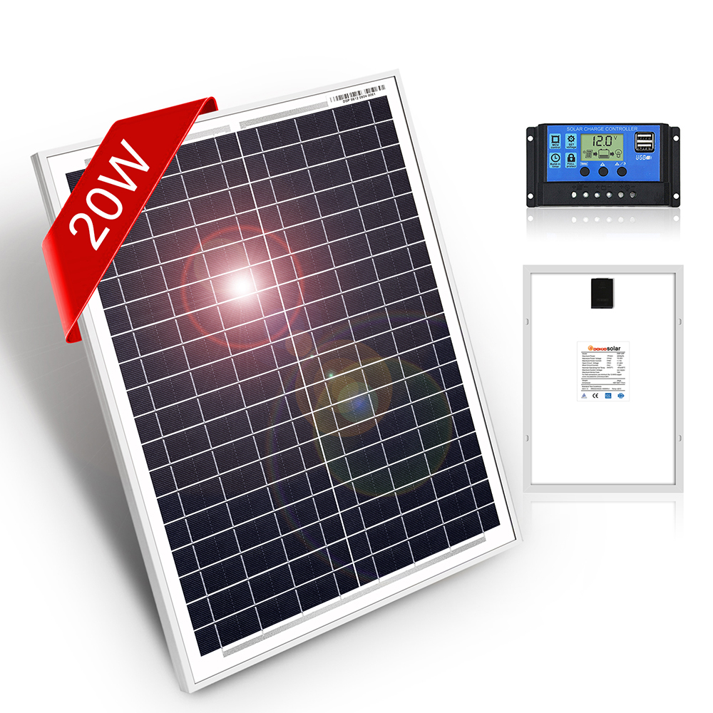 DOKIO 18 Volt 12V 20Watt Small Solar Panel China Waterproof Panels Solar Sets Cell/Module/System/Home/Boat 10A 12/24V Controlle image