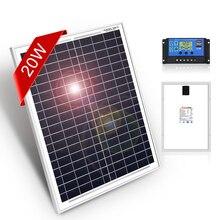 Dokio 18 ボルト 12 v 20 ワット小型ソーラーパネル中国防水パネルソーラーセット携帯/モジュール/システム/ホーム/ボート 10A 12/24 v controlle
