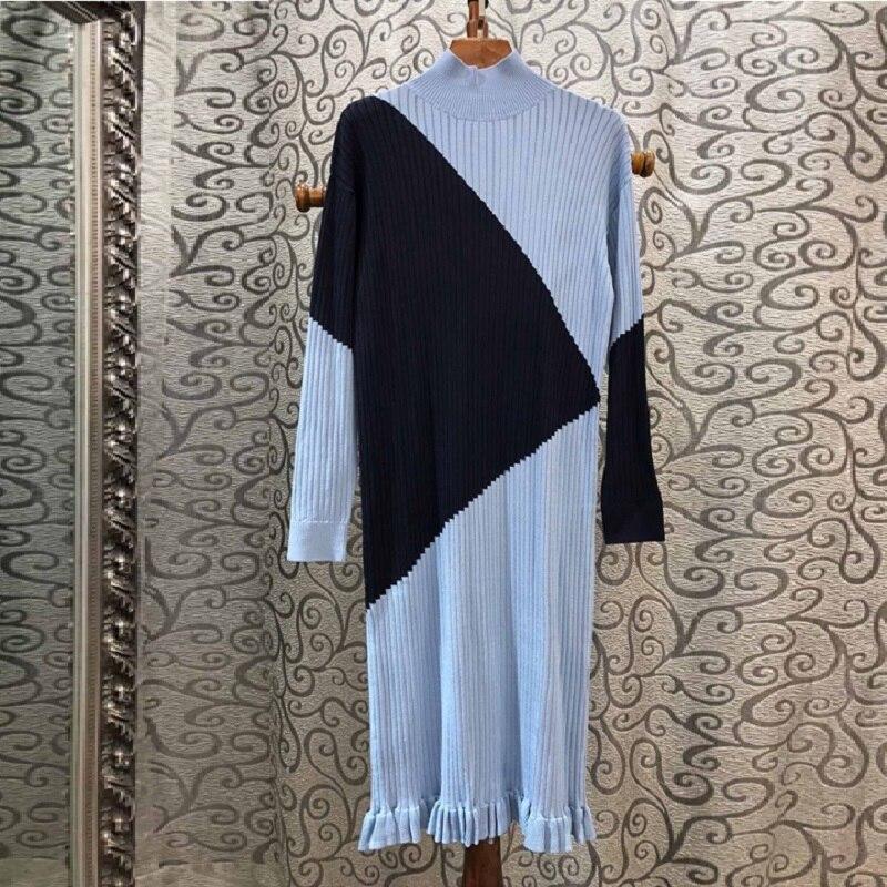 Haute qualité pull robe 2019 automne hiver chaud tricoté robe femmes motifs géométriques à manches longues robe pull dames