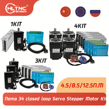 1 3 4 Kit 12.5N 8.5N 4.5N cnc nema 34 closed loop Servo Stepper Motor with Driver & Power Supply+ MACH3 Interface board cable