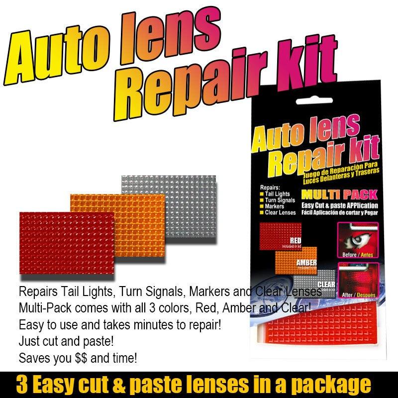 Araba oto Lens tamir kiti DIY ızgara desen araba far arka lambası tamir aracı Set araba ışıkları çatlak tamir filmi lehçe kırmızı Amber