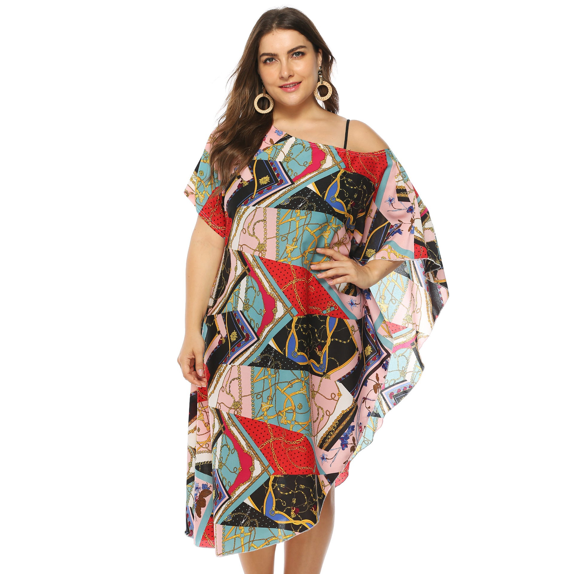Europe And America Large Size Dress Retro Printed Irregular Horizontal Neck Off-Shoulder Beach Bikini Cover-up Dress
