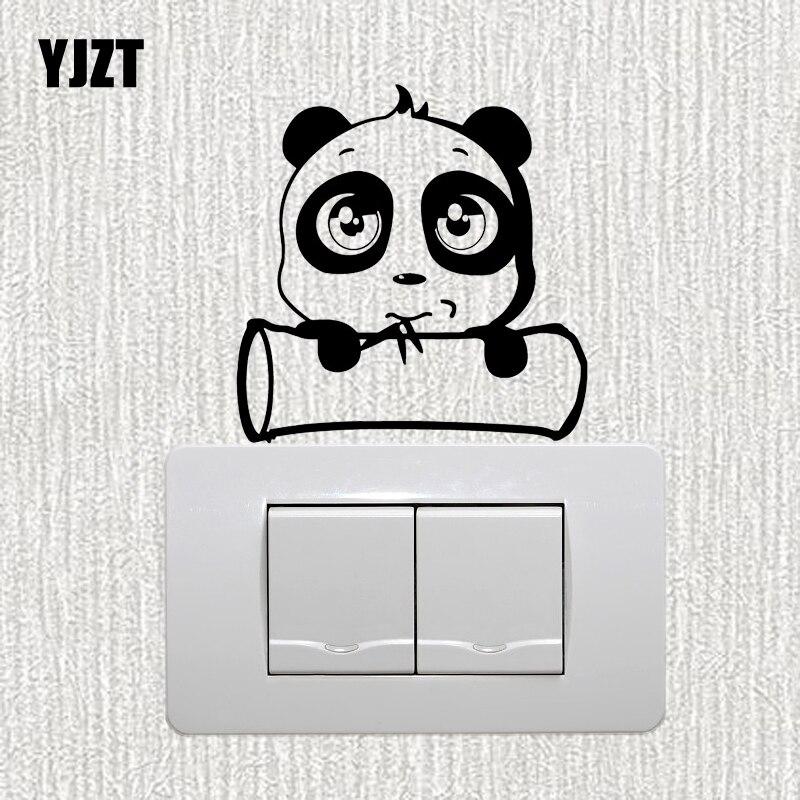 YJZT милые панды съедобные бамбуковые мультяшные рисунки Декор настенный стикер для выключателя виниловые наклейки Смешные животные S19-0995