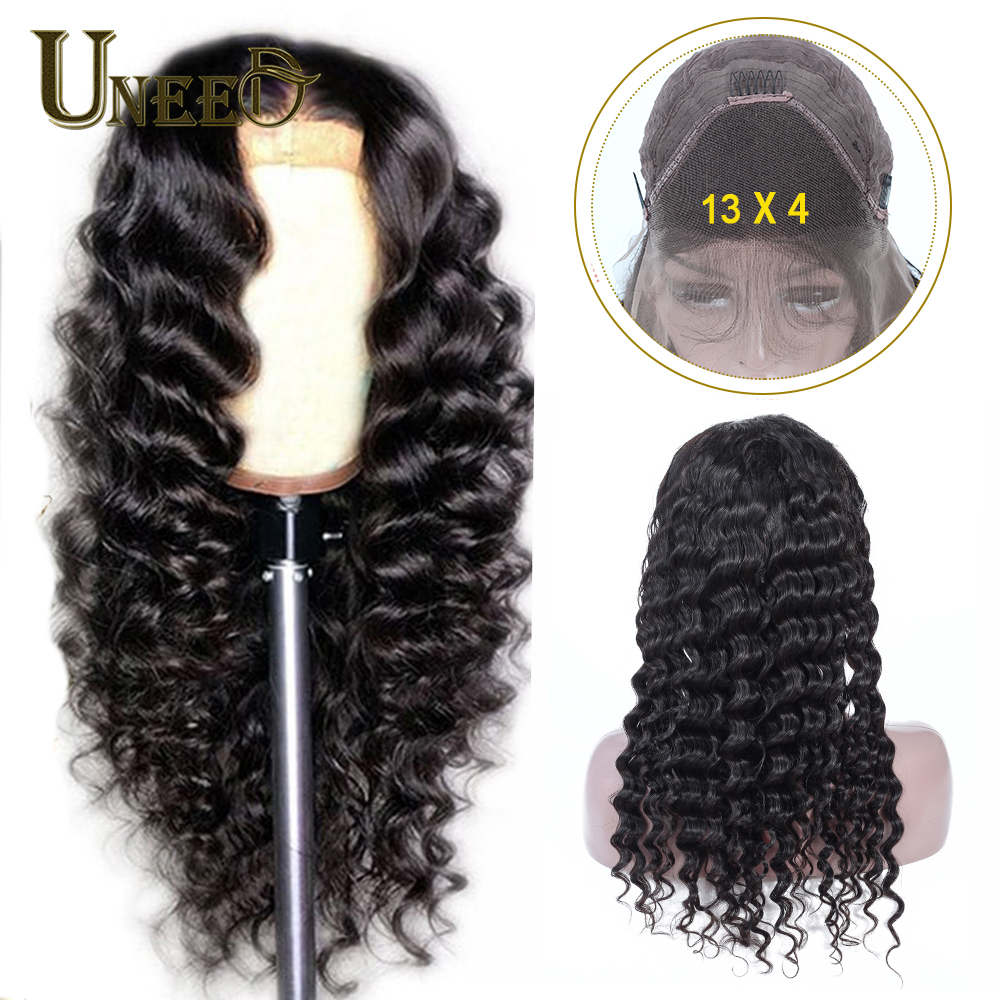 Uneed 13*4 Lace Front Human Hair Wigs Peruvian Loose Deep Wave For Black Women Remy Hair Natural Hairline With Baby Hair