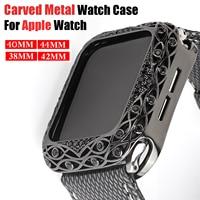 Geschnitzte Metall Uhr Fall für Apple Uhr SE 6 5 4 40mm 44mm Luxus Diamant Uhr Protector Abdeckung für IWatch Serie 42mm 38mm