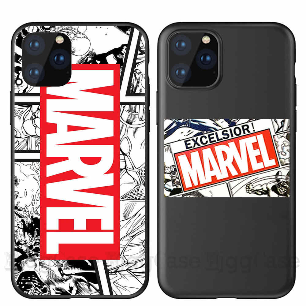 Masculino fresco Marvel Avengers Caso Do Telefone Para o iphone 11 XS Pro Max X XR 8 7 6 s Plus 5S SE Superman Batman Preto Macio TPU Casos de Coque
