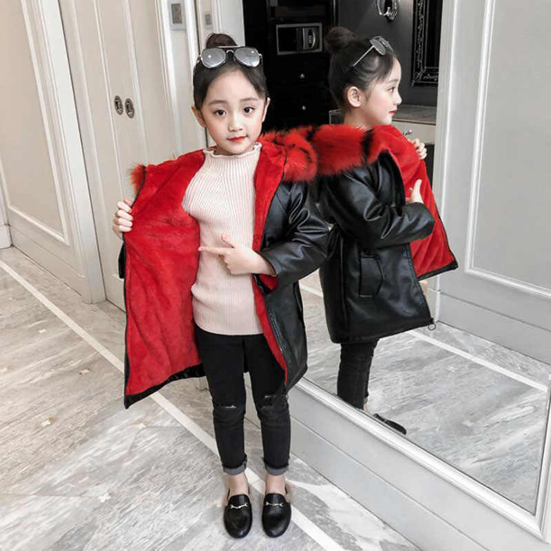 Girls winter warm jacket 4-13T kids PU leater velvet lining coat teeange windbreaker coat baby girls long leather coat children