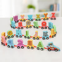 Wooden letter drag small train animal cart children's early teaching and learning intelligence assembly building block toys