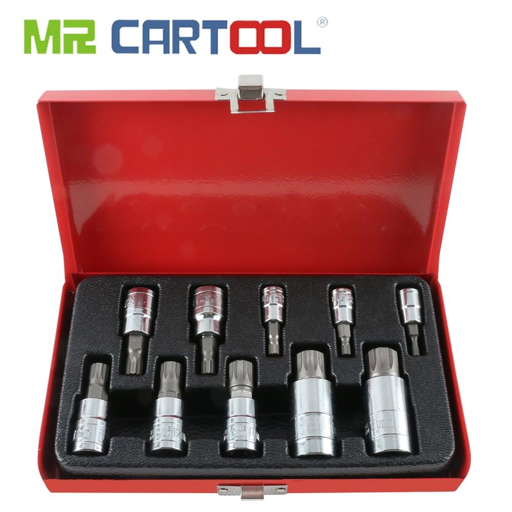 MR CARTOOL 10Pcs XZN 12 Point Triple Square Spline Bit Socket Set M4/5/6/8/9/10/12/14/16/18 With Tool Case Car Repair Tool