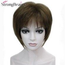 Сильные красивые короткие Синтетические прямые парики термостойкие монолитный парик 7 цветов для женщин
