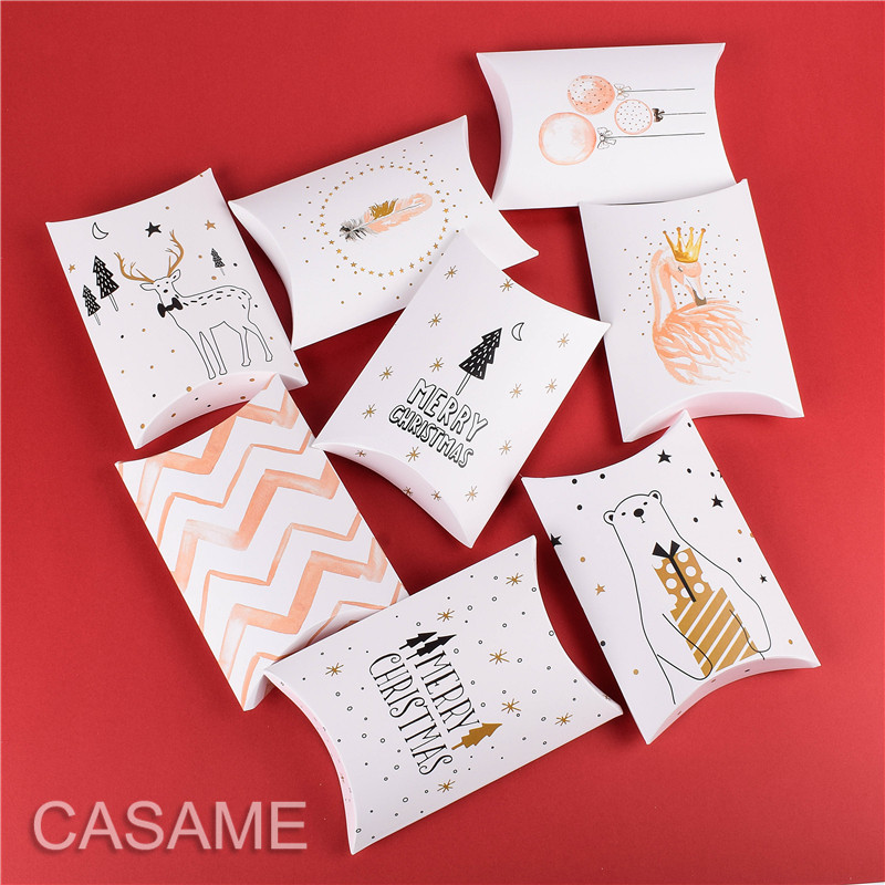 10 Pcs Swan Candy Gift Boxes Deer&Xmas Tree Guests Packaging Boxes Gift Bag Party Favors Kids Gift Decor Pillow Box Wedding